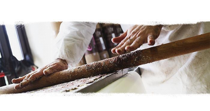 Этапы производства шоколадной колбасы
